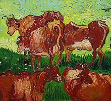 'Les Vaches' by Vincent Van Gogh (Reproduction) by Roz Abellera