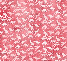 White kangaroos on red background by JumpingKangaroo