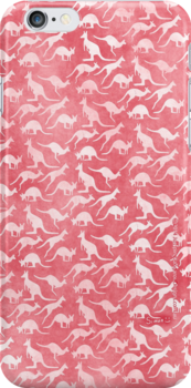 White kangaroos on red background by JumpingKangaroo