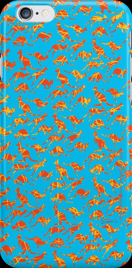 Orange Kangaroos on blue background by JumpingKangaroo