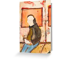 Icon of casual man with ipad in the underground Greeting Card