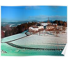Village scenery in winter wonderland | landscape photography Poster