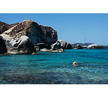 Swimming at the Baths on Virgin Gorda, British Virgin Islands, BVI Photographic Print