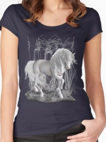 Ivory .. a white stallion Women's Fitted Scoop T-Shirt