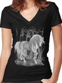 Ivory .. a white stallion Women's Fitted V-Neck T-Shirt