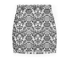 Designer black and white damask Mini Skirt
