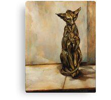Still Life with Cat Sculpture Canvas Print