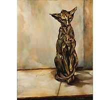 Still Life with Cat Sculpture Photographic Print