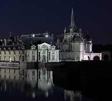 Chantilly, details of the castle at night, Oise, France. by remos
