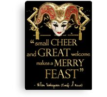 Shakespeare Comedy Of Errors Feast Quote Canvas Print
