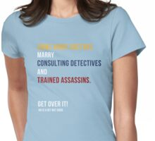 some army doctors marry consulting detectives & trained assassins /on dark colours/ Womens Fitted T-Shirt