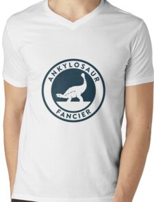 Ankylosaur Fancier Tee (Blue on White) Mens V-Neck T-Shirt