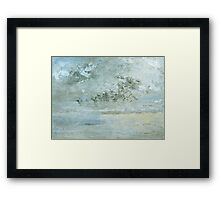 The meeting of sea, sky and beach Framed Print