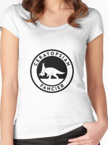 Ceratopsian Fancier Tee (Black on Light) Women's Fitted Scoop T-Shirt