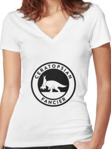 Ceratopsian Fancier Tee (Black on Light) Women's Fitted V-Neck T-Shirt