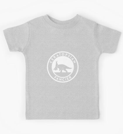 Ceratopsian Fancier Tee (White on Dark) Kids Clothes