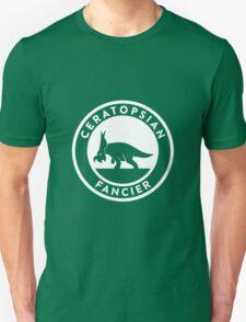 Ceratopsian Fancier Tee (White on Dark) Unisex T-Shirt