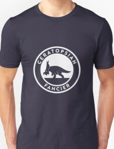 Ceratopsian Fancier Tee (White on Dark) Unisex T-Shirt