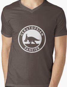 Ceratopsian Fancier Tee (White on Dark) Mens V-Neck T-Shirt