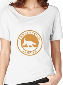 Ceratopsian Fancier Tee (Mustard on White) Women's Relaxed Fit T-Shirt