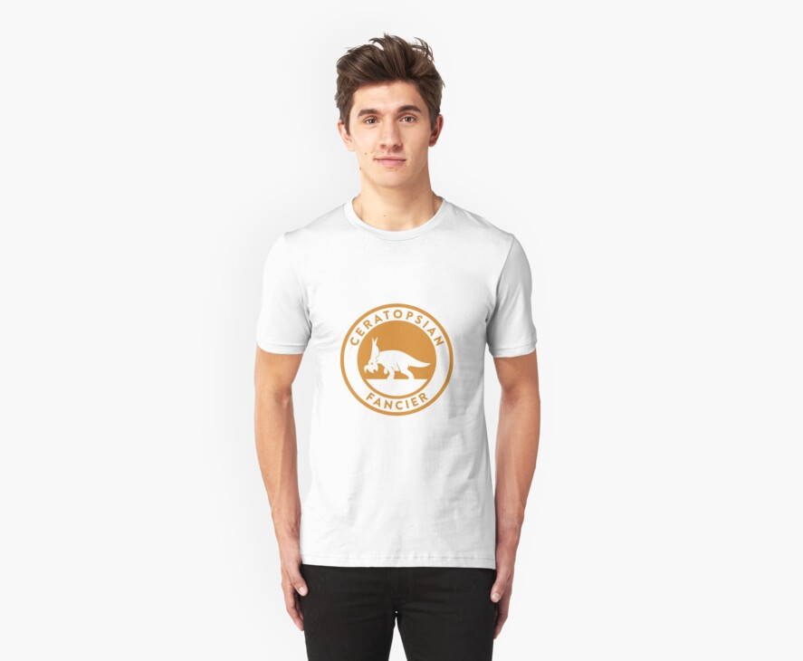 Ceratopsian Fancier Tee (Mustard on White) by David Orr