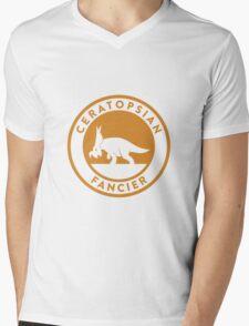 Ceratopsian Fancier Tee (Mustard on White) Mens V-Neck T-Shirt