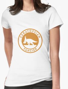 Ceratopsian Fancier Tee (Mustard on White) Womens Fitted T-Shirt