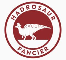 Hadrosaur Fancier (Red on White) Kids Tee