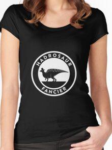Hadrosaur Fancier (White on Dark) Women's Fitted Scoop T-Shirt