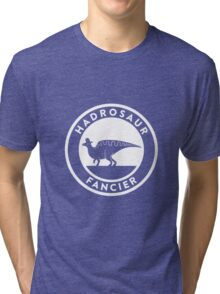 Hadrosaur Fancier (White on Dark) Tri-blend T-Shirt
