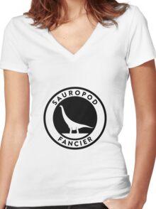 Sauropod Fancier (Black on Light) Women's Fitted V-Neck T-Shirt
