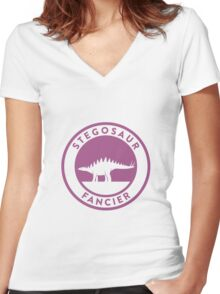 Stegosaur Fancier (Violet on White) Women's Fitted V-Neck T-Shirt