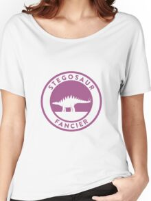 Stegosaur Fancier (Violet on White) Women's Relaxed Fit T-Shirt