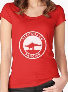 Stegosaur Fancier (White on Dark) Women's Fitted Scoop T-Shirt
