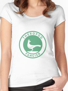 Theropod Fancier (Teal on White) Women's Fitted Scoop T-Shirt