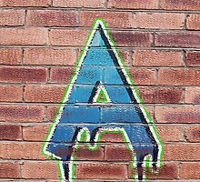 Graffiti Printed Letter A on wall by Jack Hickling