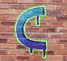 Graffiti Printed Letter C on wall by Jack Hickling