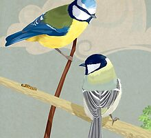 British birds. The blue tit and great tit by Carl Conway