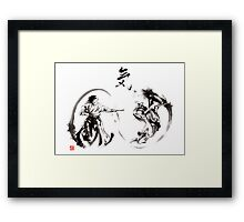 Aikido federation show double enso fight line circle martial arts japan  Framed Print