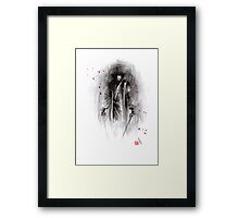 Samurai ronin gift for dad wedding gift unique painting sword rain night revenge cherry blossom sakura bushido Framed Print