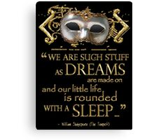 Shakespeare The Tempest Dreams Quote Canvas Print