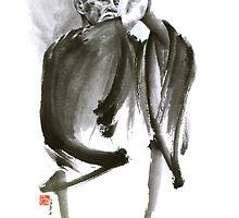 Morihei Ueshiba Sensei Aikido martial arts art japan japanese master sum-e portrait founder by Mariusz Szmerdt