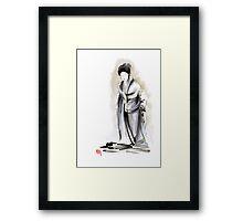 Geisha classical figure woman kimono wearing old style painting Framed Print
