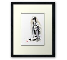 Geisha classical figure woman kimono wearing old style painting Framed Print