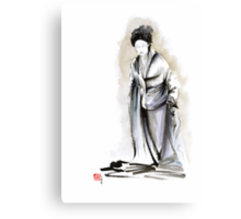 Geisha classical figure woman kimono wearing old style painting Canvas Print