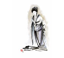 Geisha classical figure woman kimono wearing old style painting Photographic Print