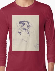 Patchwork Puppy (Sketch of Dog) Long Sleeve T-Shirt