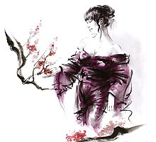 Geisha Geiko maiko young girl Kimono Japanese japan woman sumi-e original painting cherry blossom sakura pink water by Mariusz Szmerdt