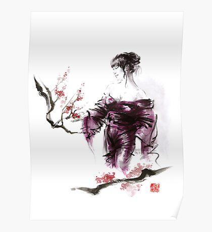 Geisha Geiko maiko young girl Kimono Japanese japan woman sumi-e original painting cherry blossom sakura pink water Poster