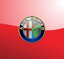 Alfa Romeo 3D Badge-Logo on Red by Captain7